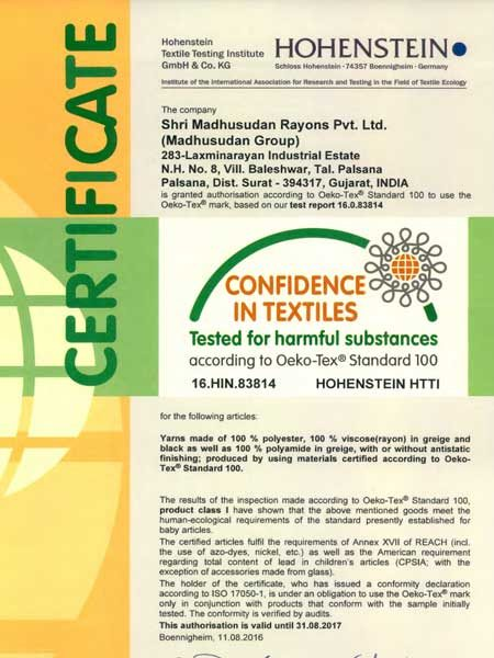 Certifications - Madhusudan Group - Yarn, Weaving and Knitting Group